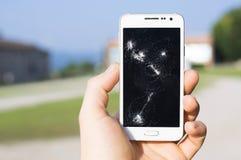 Exhibición dañada de Smartphone foto de archivo libre de regalías