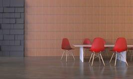Exhibición de la reunión de la oficina y silla roja en la pared Fotos de archivo libres de regalías