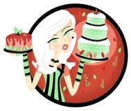 Exhibición de la torta de la tenencia de la mujer Imagen de archivo libre de regalías