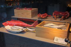 Exhibición de la ventana con las criaturas de cerámica del mar imágenes de archivo libres de regalías