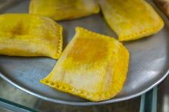 Exhibición de las empanadas de carne de Empanada Fotografía de archivo