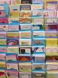 Exhibición de las tarjetas de felicitación Imagen de archivo libre de regalías