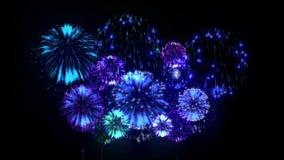 exhibición de los firewoks 4K fireckrackers coloridos en la noche del día de fiesta Versión 9 stock de ilustración