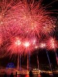 Exhibición de los fuegos artificiales del día de Austrlia Fotos de archivo libres de regalías