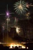 Exhibición de los fuegos artificiales - noche de la hoguera Fotografía de archivo