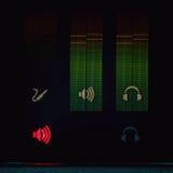 Exhibición de los metros de sonidos Fotos de archivo
