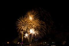 Exhibición de oro hermosa del fuego artificial por Feliz Año Nuevo de la celebración Imágenes de archivo libres de regalías