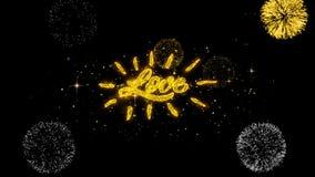 Exhibición de oro de los fuegos artificiales de las partículas del centelleo del texto del corazón del amor de la tarjeta del día stock de ilustración
