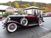 Exhibición del coche del vintage para el festival del otoño en Arrowtown, Nueva Zelanda foto de archivo libre de regalías