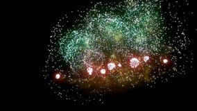Exhibición del fuego artificial en la noche en fondo negro almacen de metraje de vídeo
