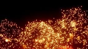 Exhibición del fuego artificial en la noche en fondo negro metrajes