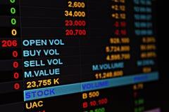 Exhibición del mercado de acción o de los datos de intercambio de la acción en monitor Fotos de archivo