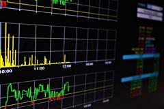 Exhibición del mercado de acción o de los datos de intercambio de la acción en monitor Imagen de archivo libre de regalías