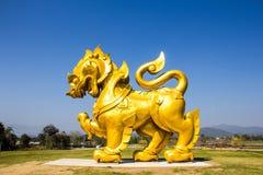 Exhibición del singha del oro en Boon Rawd Farm Imagenes de archivo