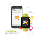 Exhibición elegante del dispositivo del reloj con los iconos y smartphone del app Tecnología elegante del reloj Imagen de archivo libre de regalías