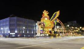 Exhibición gigante del gallo por Año Nuevo chino Imagen de archivo libre de regalías