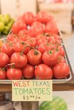 Exhibición jugosa de los tomates del racimo en el mercado del granjero con la muestra del precio Imágenes de archivo libres de regalías