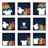 Exhibición llana de la camiseta en plantilla del vector de las ilustraciones del fondo de los azules marinos ilustración del vector