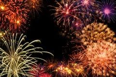 Exhibición magnífica de los fuegos artificiales Fotografía de archivo