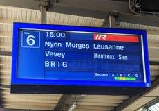 Exhibición sobre una plataforma del ferrocarril de Ginebra Imagenes de archivo