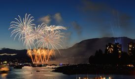 Exhibición Vancouver 2016 de los fuegos artificiales Imagen de archivo libre de regalías