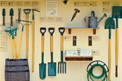 Exhibición del utensilio de jardinería Fotografía de archivo