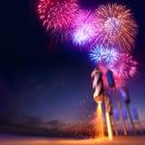 Exhibición dramática de los fuegos artificiales Fotos de archivo libres de regalías