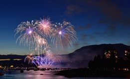 Exhibición Vancouver 2016 de los fuegos artificiales Foto de archivo