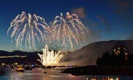 Exhibición Vancouver 2016 de los fuegos artificiales Foto de archivo libre de regalías