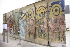 Exhibit featuring large piece of the Berlin Wall Royalty Free Stock Images