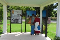 Exhibit at the Freedom Park, Helena Arkansas. One of more than 25 Civil War interpretive sites located throughout historic Helena and Phillips County. The park Stock Photography
