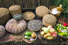 Fruit and grain used to make food . The exhibit, fruit and grain used to make food and free from toxins Royalty Free Stock Photos