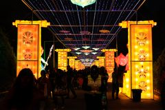 Lantern show. Exhibit of lanterns.A lantern display at a temple fair in chengdu.During Spring Festival time, you can see kinds of decorations. you can go to royalty free stock image