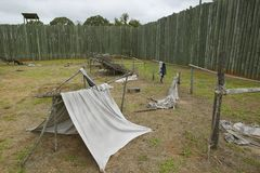 Exhibit at National Park Andersonville or Camp Sumter, Site of Confederate Civil War prison and cemetery for Yankee Union prisoner Stock Photography