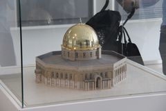 Exhibit of scale model of Dome of the Rock in Islamic Art Musium stock photos