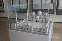Exhibit of scale model of Sheikh Zayed Grand Mosque in Islamic Art Musium stock photography