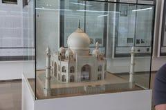 Exhibit of scale model of Taj Mahal in Islamic Art Musium royalty free stock photo