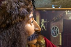 Exhibit in Torture Museum Bruges, face of Vlad III, known as Vlad the Impaler Vlad Dracula in profile. Bruges, Belgium - December 14, 2018: One of the cruel royalty free stock images