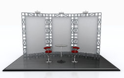 Exhibit trade show display stand. Empty screen for your logo and product background. With high top table promotion counter or customer service Stock Photos