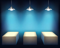 Exhibit. Vector illustration. Shelf with spotlights. Vector illustration Stock Photo