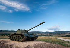 Exhibited a tank T-55 Stock Photography