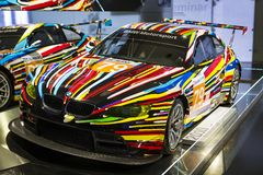 Exhibition and achievements of the exhibits of the legendary models of cars and motorcycles in the BMW Museum. stock photography