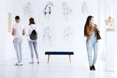 Exhibition of art in gallery stock image