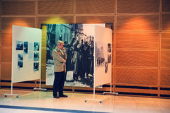 Exhibition in Berlin. In may 2009. Old photos about the Poland\'s invasion by Nazis and Russians during World War II Royalty Free Stock Photo