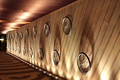 Exhibition of bicycles wheel at entrance Stock Images