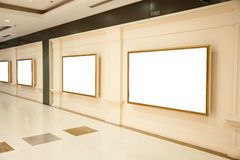 Exhibition boards. Blank interiors exhibition boards on a wall Stock Photos