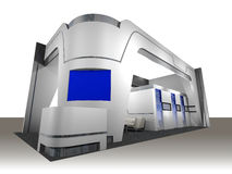 Exhibition Booth. 3d render of a blank trade exhibition booth with screen, counter, seats and lights stock illustration