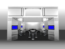Exhibition Booth. 3d render of a blank trade exhibition booth with display and meeting area Stock Photo
