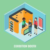 Exhibition booth concept vector flat isometric illustration. Exhibition booth concept vector flat 3d illustration. Isometric trade show stand mockups, young Royalty Free Stock Photo