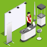 Exhibition Booth 3D Stand People Isometric Vector Illustration Stock Photos